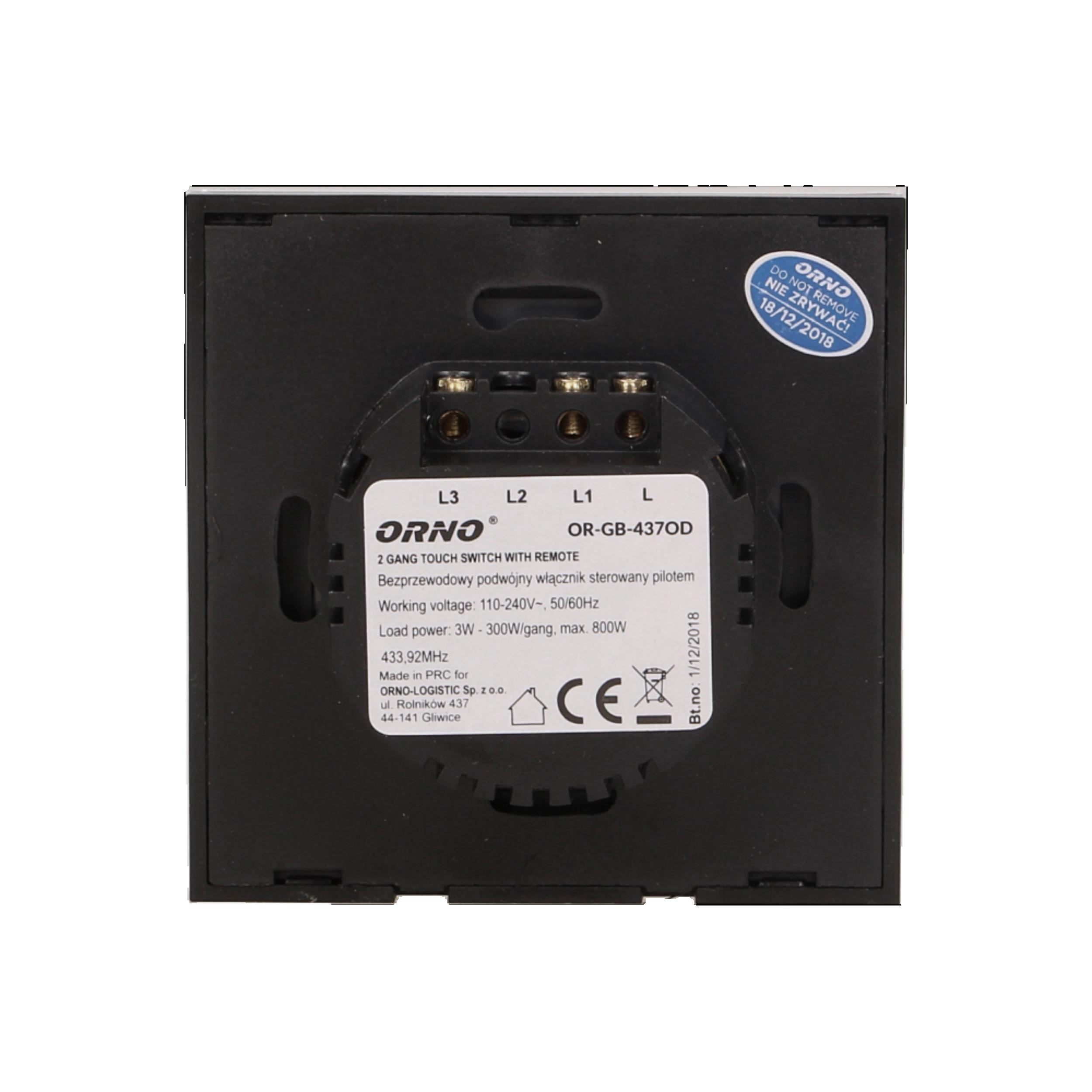 Modne ubrania Bezprzewodowy podwójny dotykowy włącznik / wyłącznik światła JC75